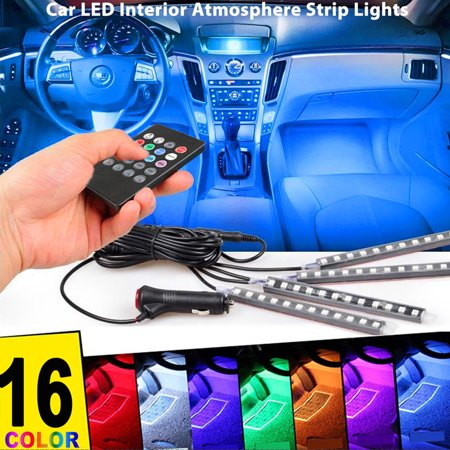 - Car LED Strip Light 4pcs 12 LED RGB Color Underdash Lighting Kits DC 12V LED Interior Lights with Wireless Remote Control