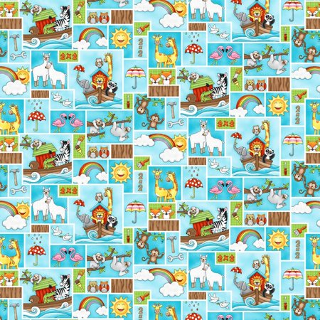 Two by Two Noah's Ark Animal Aqua Patch Cotton Fabric by Studio E