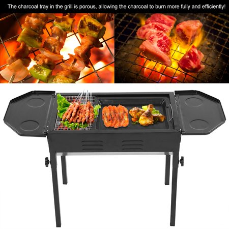 Barbecue Grill,Ymiko Stainless Steel Foldable Barbecue Grill BBQ Stove Charcoal Grill Black