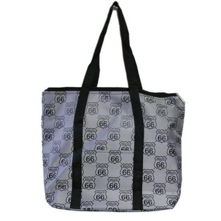 Us Route 66 Emblem Gray Colored Zipper Top Tote Bag