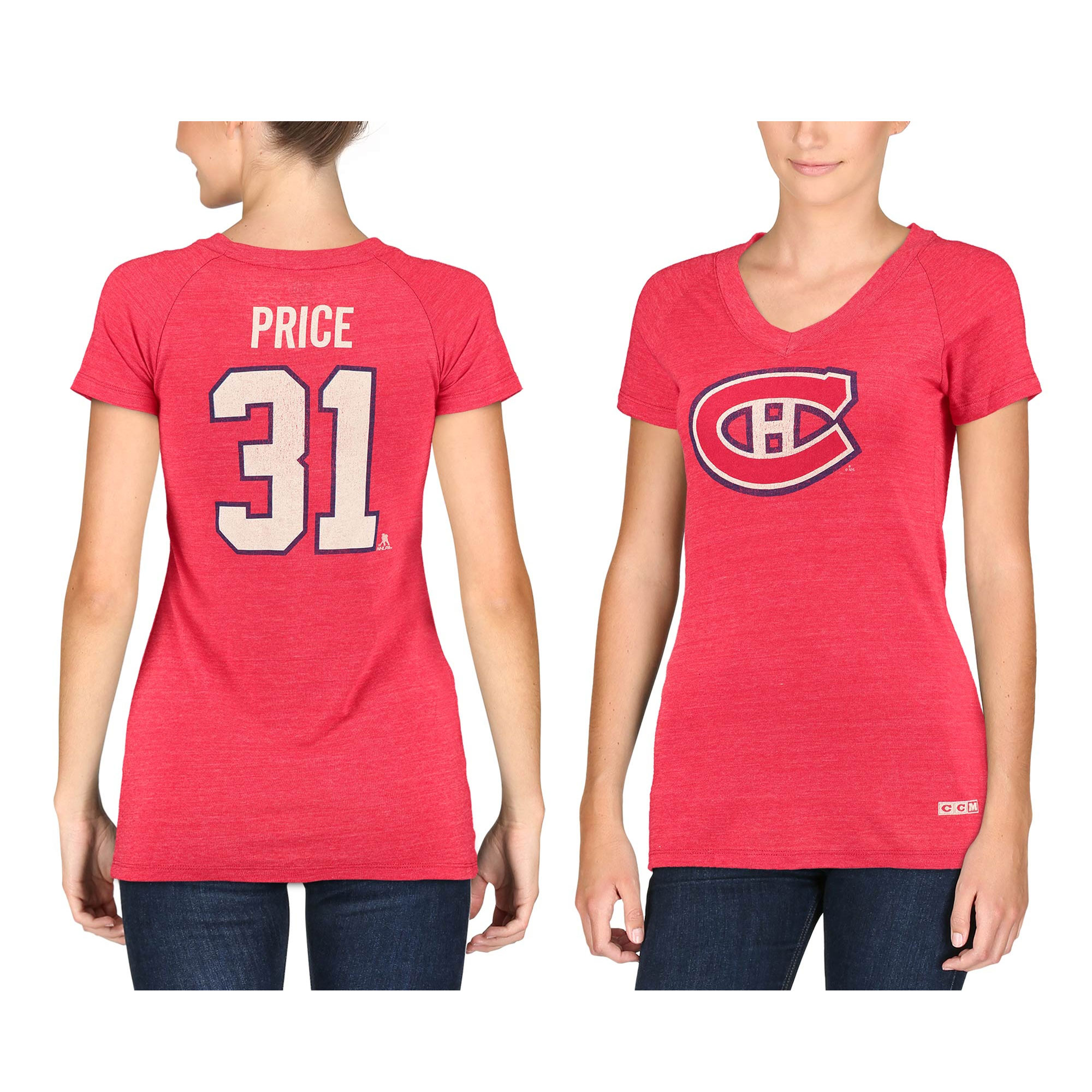 Carey Price Montreal Canadiens CCM Women's Name & Number Tri-Blend V-Neck T-Shirt - Red