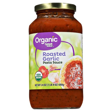 ((4 pack) Great Value Organic Roasted Garlic Pasta Sauce, 23.5 oz)