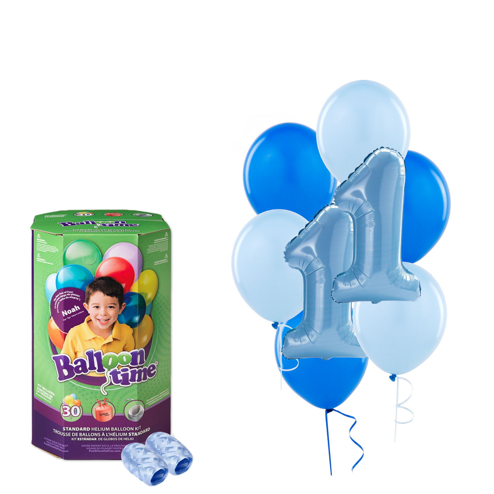 Boys 1st Birthday Balloons with Helium Tank