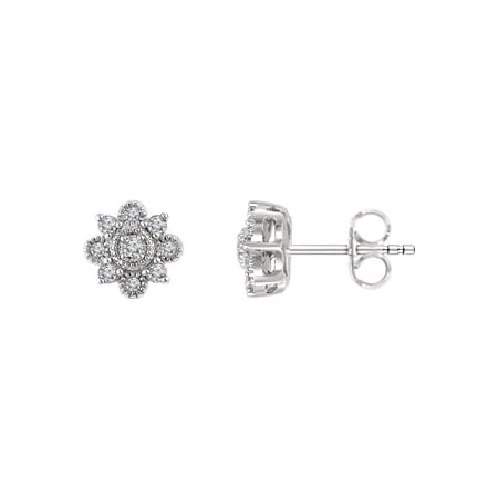 Jewels By Lux Set 14k White Gold Pair Polished 1/5 CTW Diamond Vintage-Inspired Earrings With Backs