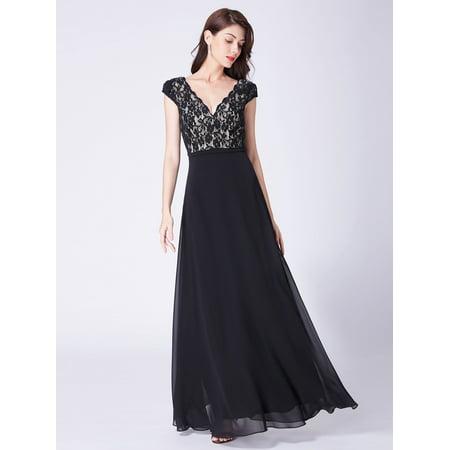 Ever-Pretty Women's Vintage Lace V-Neck Long Formal Evening Wedding Party Dresses for Women 07344 Black US 4 - Black Weddings