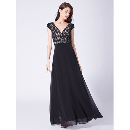 Evening Jacket Coat - Ever-Pretty Women's Vintage Lace V-Neck Long Formal Evening Wedding Party Dresses for Women 07344 Black US 4