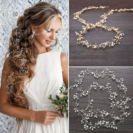Wedding Hair Vine Bridal Accessories Crystal Pearl Headband Long Chain Headpiece
