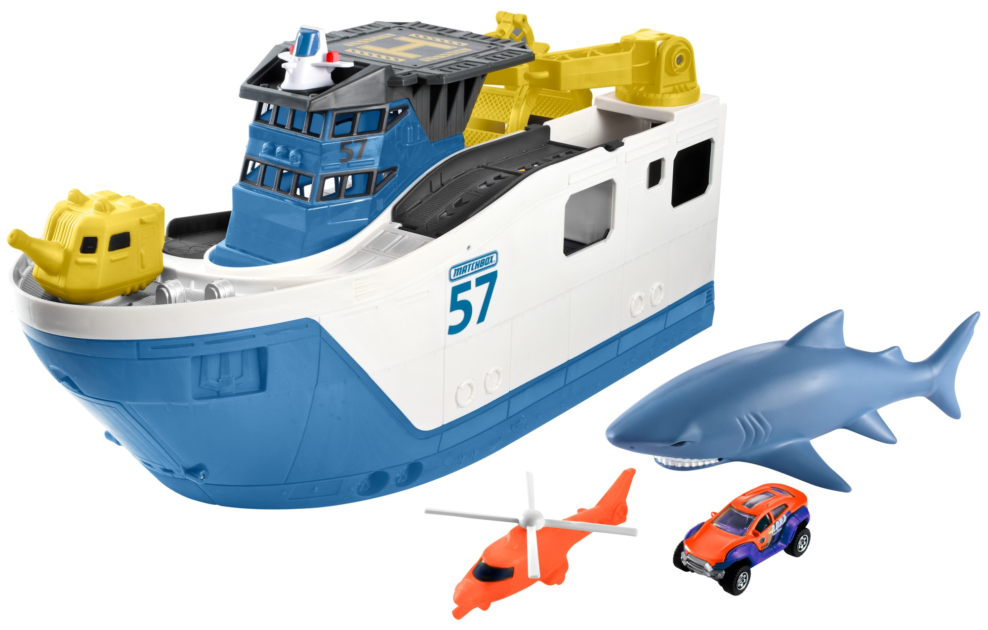 Matchbox Shark Ship with Two Water-Safe Cars by Mattel