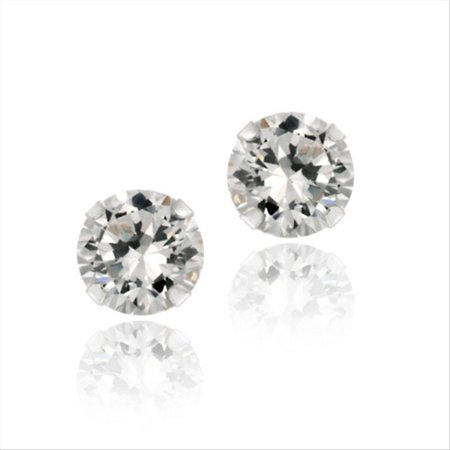 Sterling Silver 2ct White Topaz Stud Earrings, 6mm 2ct Tw Stud Earrings