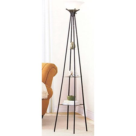 "Mainstays 69"" Etagere Floor Lamp, Dark Charcoal Finish"
