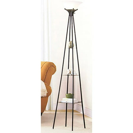 Mainstays 69u0022 Etagere Floor Lamp, Dark Charcoal Finish