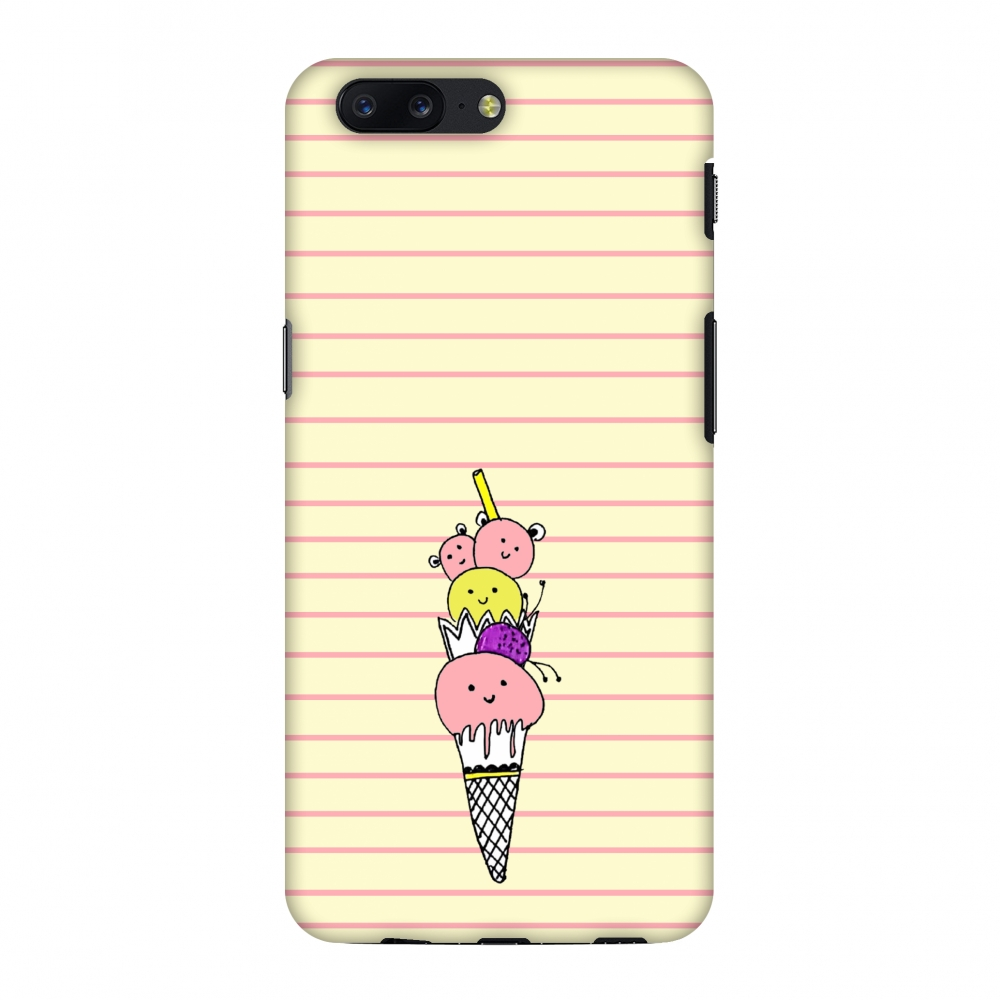 OnePlus 5 Case - Ice Cream Sisters- Yellow, Hard Plastic Back Cover, Slim Profile Cute Printed Designer Snap on Case with Screen Cleaning Kit