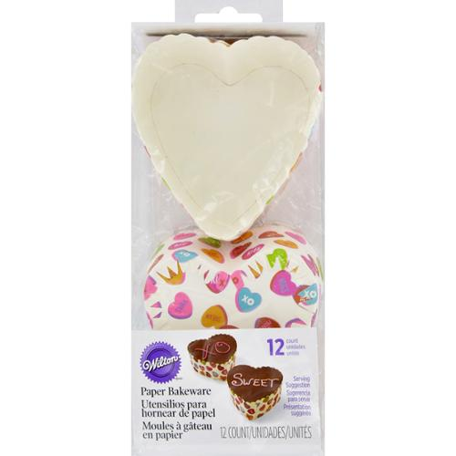 "Disposable Bakeware 3""X3"" 12/Pkg-Scalloped Heart Words Can Express"