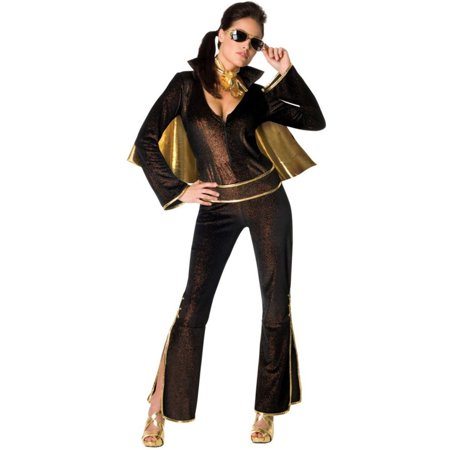 Morris Costumes Rubie's Womens Elvis Black jumpsuit, attached cape, attached belt, scarf Costume Medium, Style RU889203MD - Pro Elvis Jumpsuit