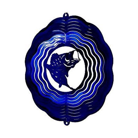 "12"" Wind Spinner Fish Bass Blue Hanging Garden Art Decor Patio Chimes Sock Gift thumbnail"