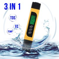 TDS Water Quality Tester - TSV Digital LCD TDS Mete, EC & Temperature Meter 3 in 1, 0-9999 ppm Meter, LCD Display, TDS Meter for Drinking Water Test, Swimming Pool, Aquarium, Hydroponics