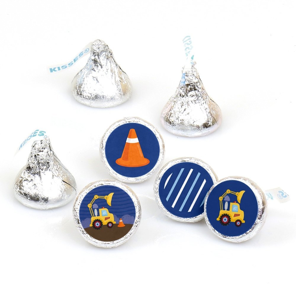 Construction Truck - Party Round Candy Sticker Favors - Labels Fit Hershey's Kisses (1 sheet of 108)