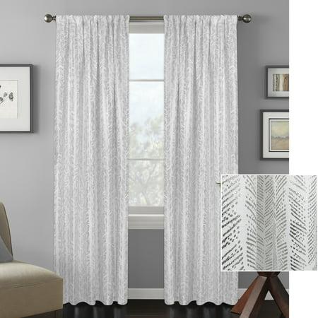 Better Homes and Gardens Distressed Herringbone Metallic Gold or Silver Window Curtain Panel](Metallic Curtain)
