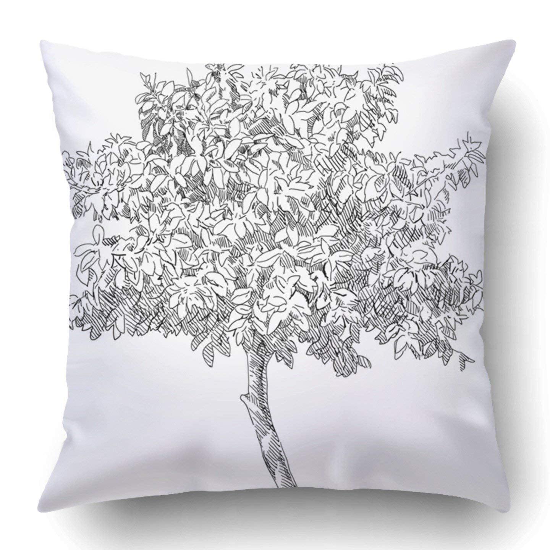 WOPOP White Plant Hand Drawn Tree Black Oak Old Vintage Architecture Artistic Branch Classic Pillowcase 18x18 inch