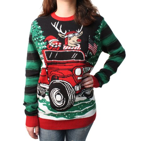 Plus Size Ugly Christmas Sweater.Ugly Christmas Sweater Plus Size Women S How We Roll Reindeer In Jeep Led Light Up Pullover Sweatshirt Small