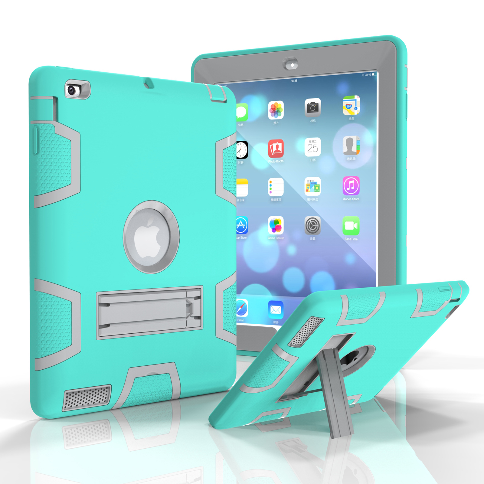 """iPad 2nd / 3rd/ 4th Gen 9.7"""" Case, Goodest Three Layer Silicone PC Full Body Protective Shockproof Stand Armor Defender Drop Proof Kids Toddler Friendly Cover for Apple iPad 2 3 4, Offwhite+Skyblue"""