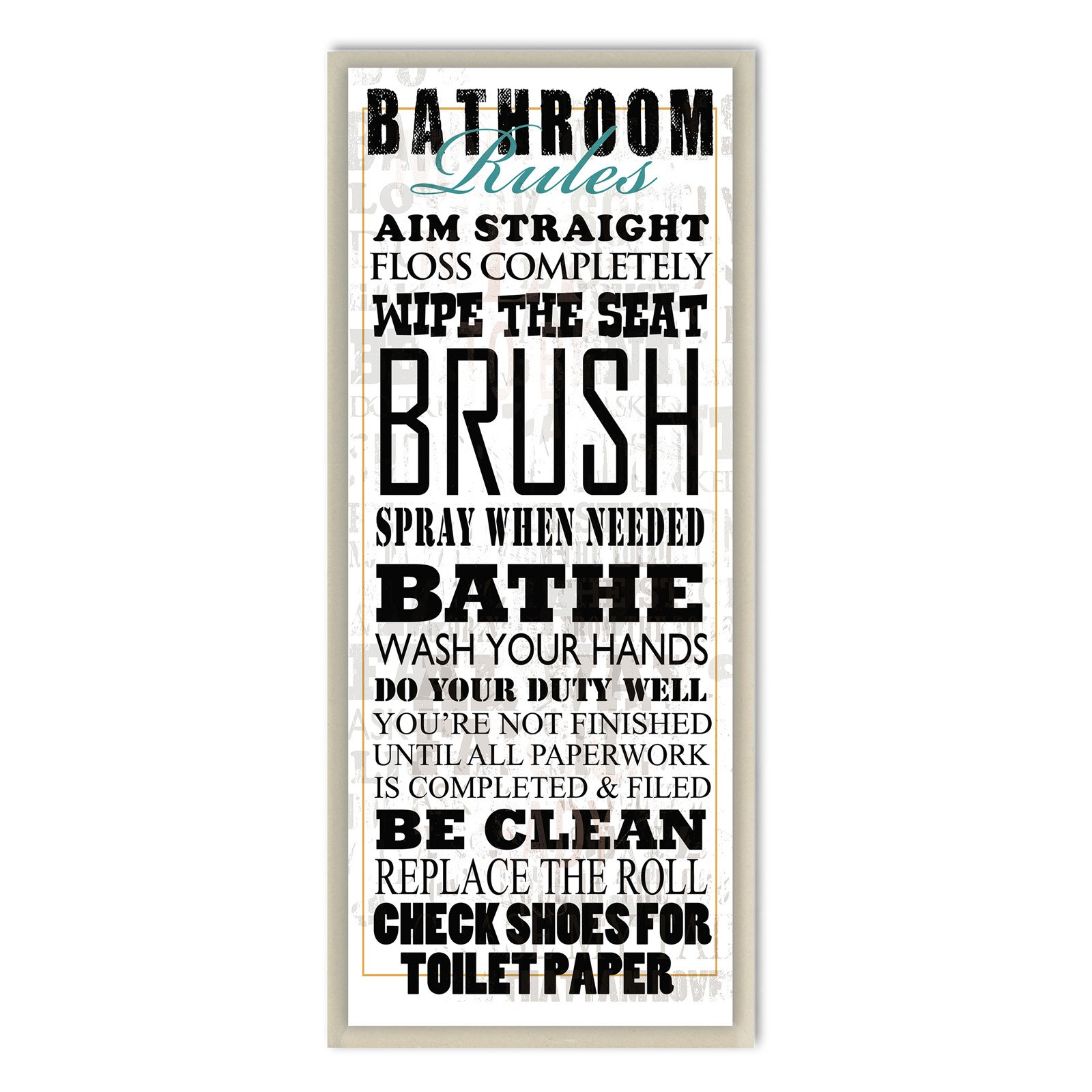 Bathroom Rules Typography Tall White Bathroom Wall Plaque by Stupell Industries