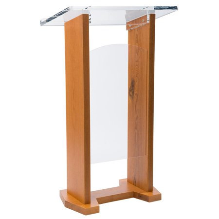 Lectern Podium, Solid Oak and Clear Acrylic, 2 Interchangable Front Panels,  47