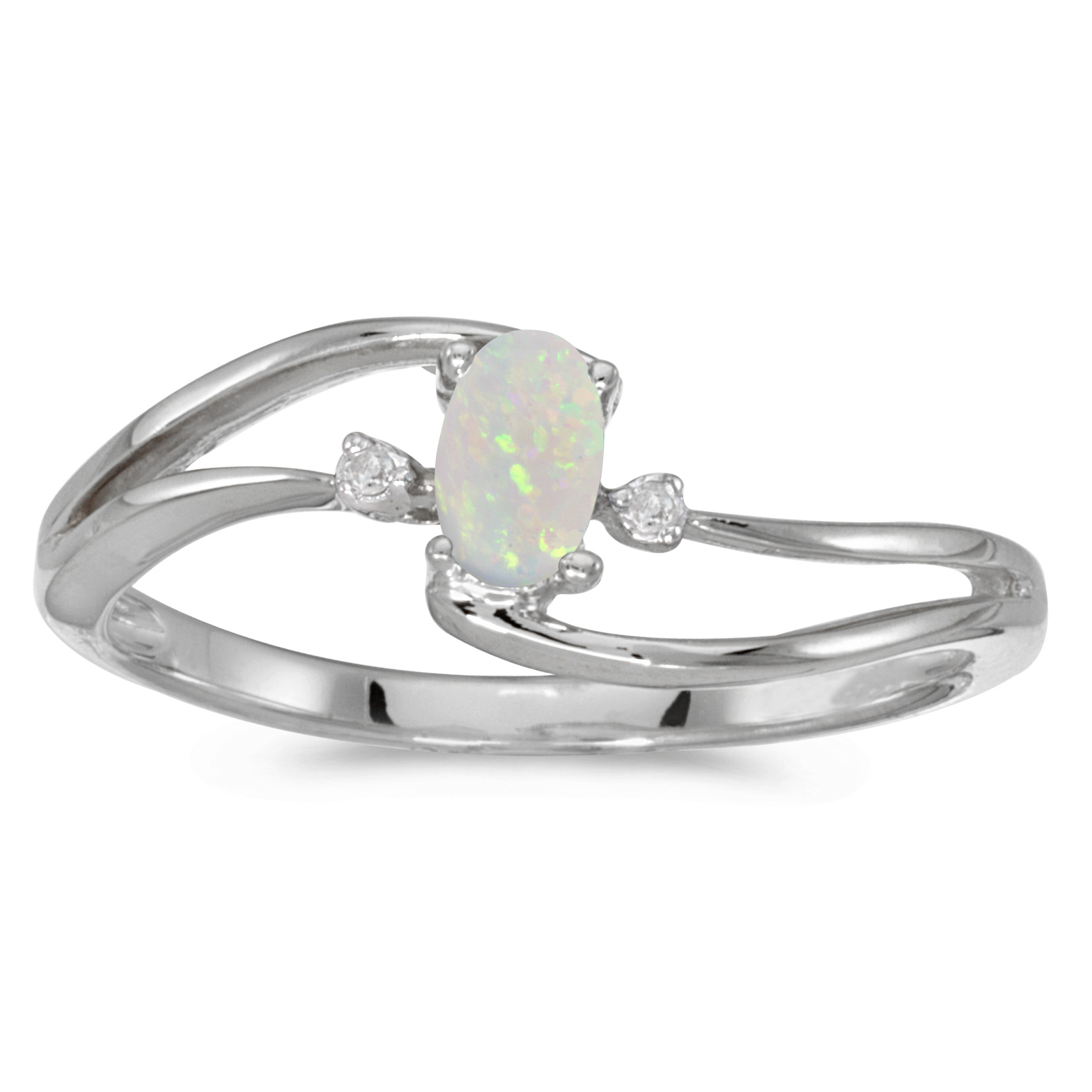 14k White Gold Oval Opal And Diamond Wave Ring by