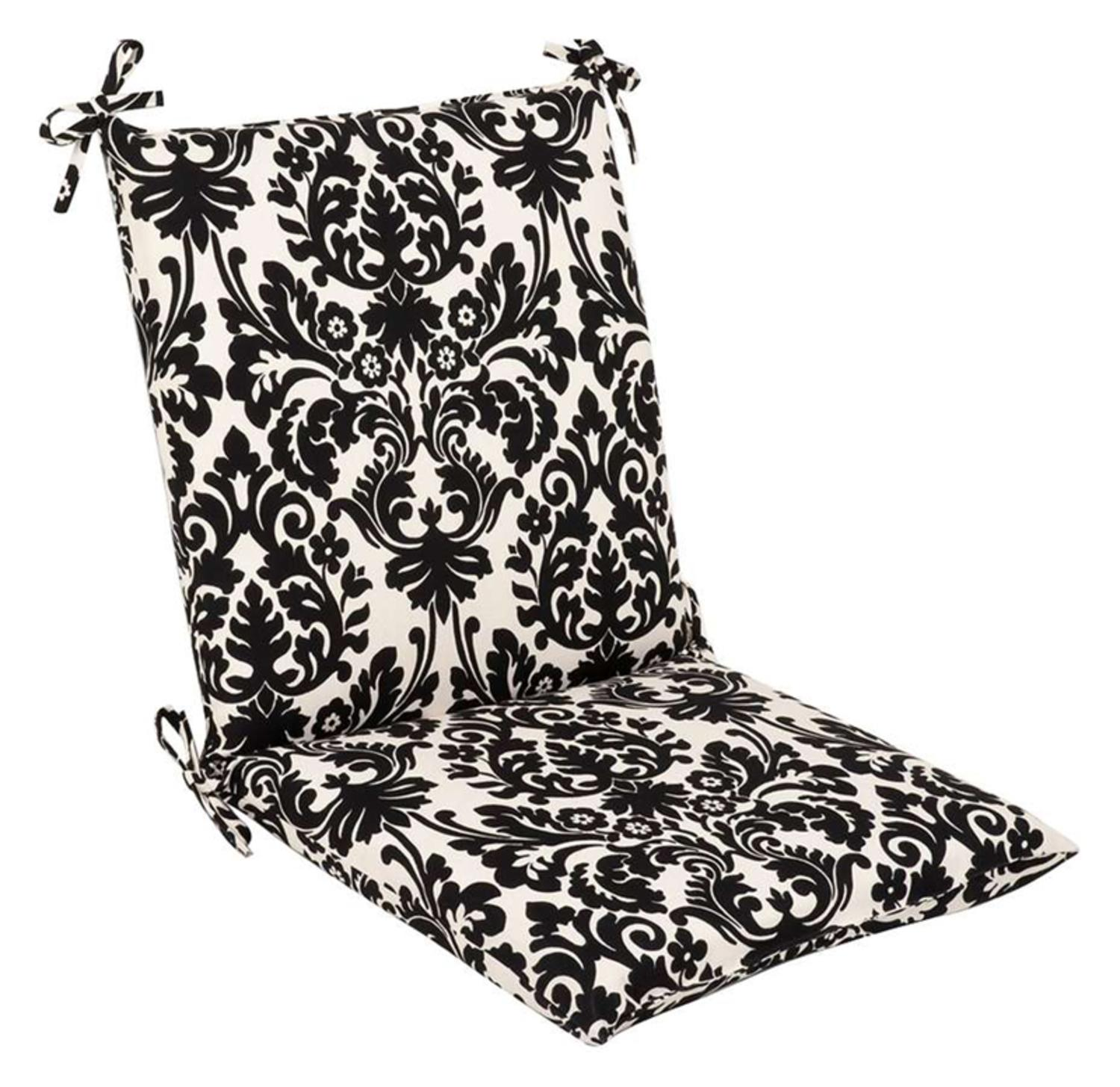 Outdoor Patio Furniture Mid Back Chair Cushion - Dramatic Black & Cream Damask