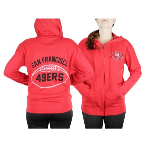 San Francisco 49ers NFL Womens Double Coverage Full Zip French Terry Hoodie