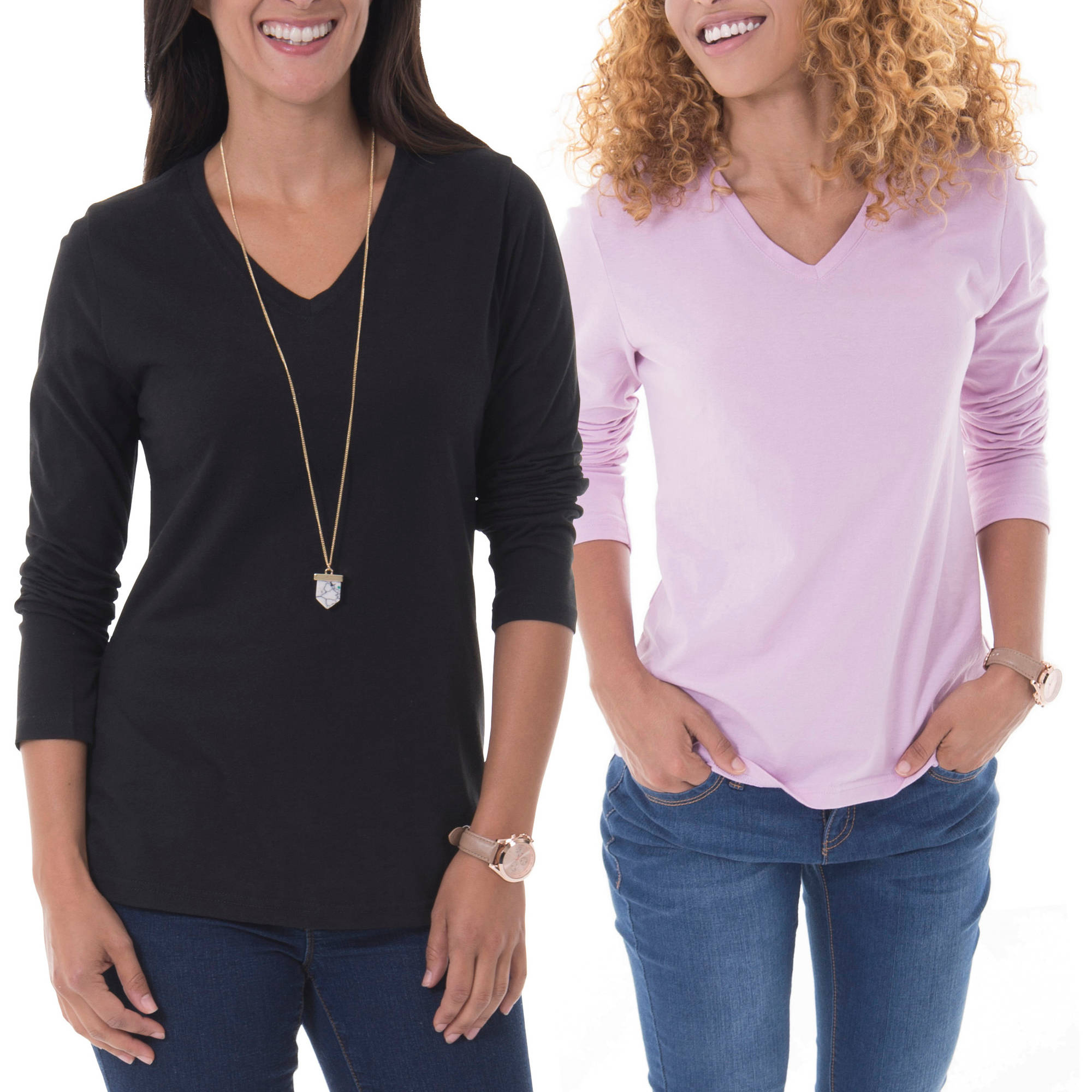 Faded Glory Women's Essential Long-Sleeve V-neck Tee 2-Pack Value Bundle