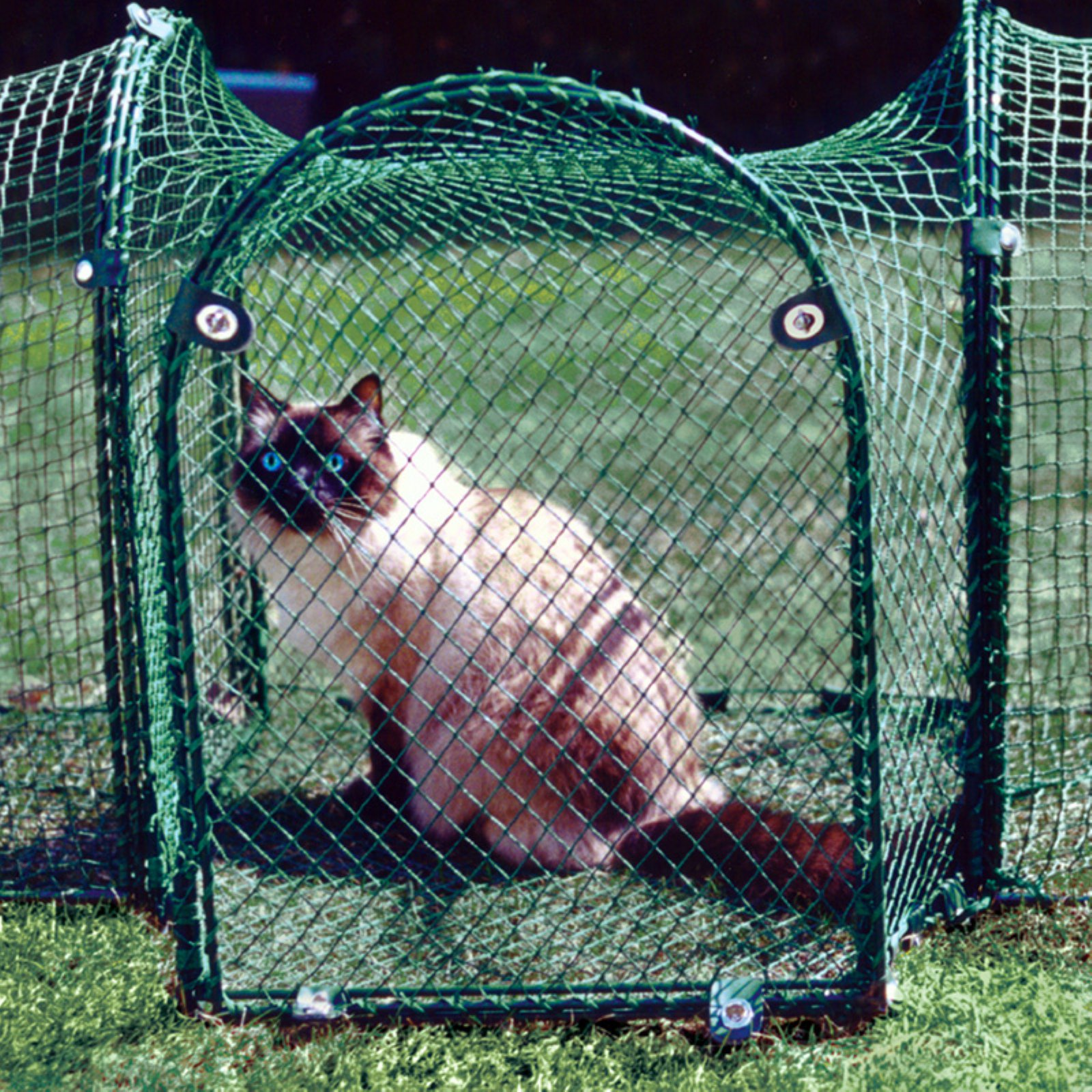 "Kittywalk Single T-Connect Unit Outdoor Cat Enclosure, Green, 24"" x 24"" x 24"""