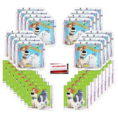 Secret Life of Pets Part 2 Birthday Party Supplies Bundle Pack for 16 Guests (Plus Party Planning Checklist by Mikes Super Store) - Birthday Part