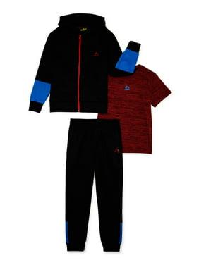 RBX Boys Fleece Full Zip Hoodie, T-Shirt, Joggers 3-Piece Active Set, Sizes 4-12