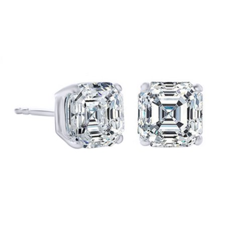 2 Carat T.W. Asscher Cut Simulated Cubic Zirconia Classic Stud Earrings In White Gold Over Sterling Silver ()