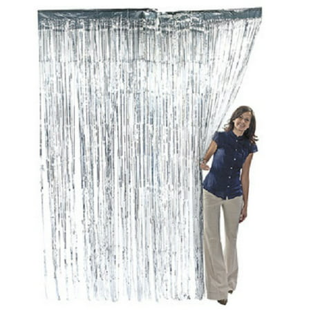 Foil Fringe (Silver Foil Fringe Door Curtain, 3ft x 8ft)
