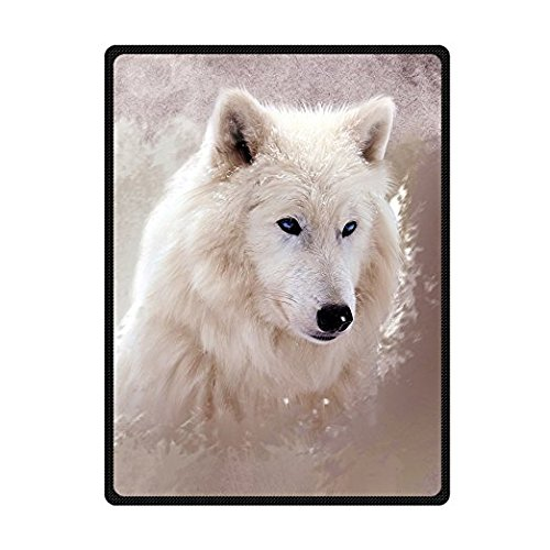 CADecor Handsome White Wolf Blue Eyes Fleece Throw Blanket 58x80 inches