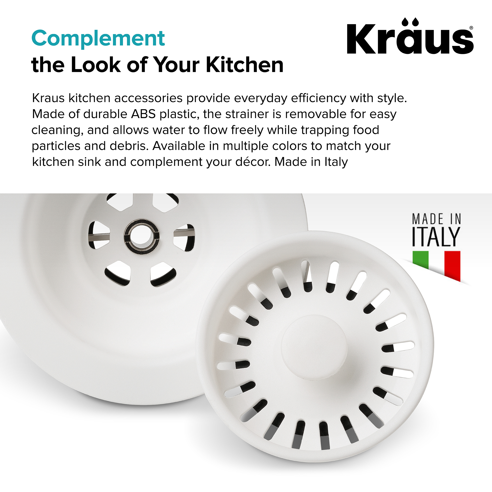 Kraus Kitchen Sink Strainer In White