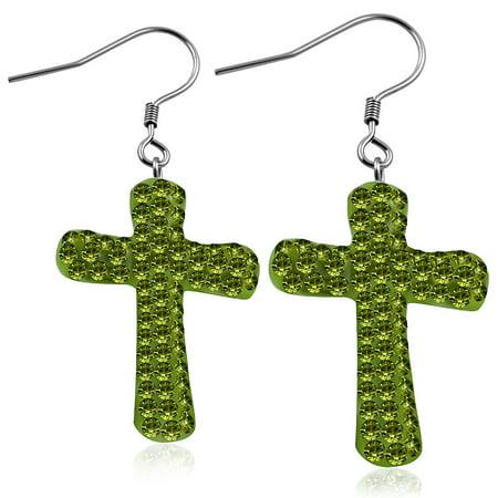 Fashion Alloy Multicolor CZ Religious Cross Drop Dangle Earrings Multi Cross Dangle