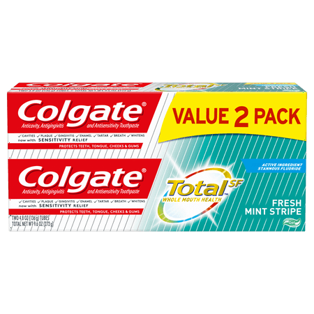 Colgate Total Toothpaste, Fresh Mint Stripe Gel, 4.8 oz. 2-pack