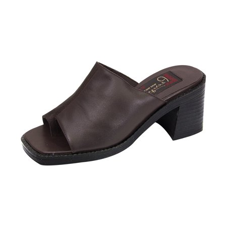 Extra Wide Leather Sandals - PEERAGE Adeline Women Extra Wide Width Leather Sandals BROWN 5