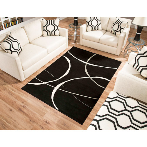 Terra Luna Woven Area Rug, Cream and Black