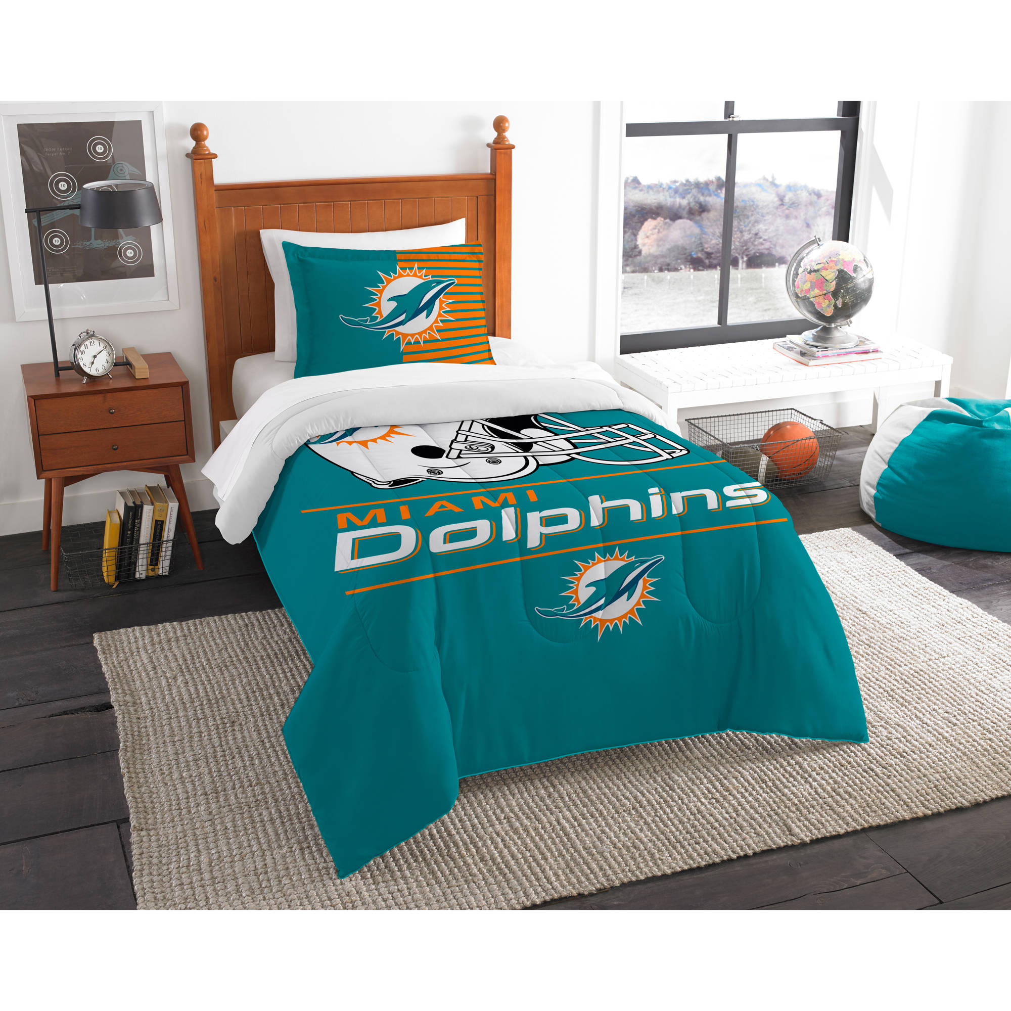 "NFL Miami Dolphins ""Draft"" Bedding Comforter Set"