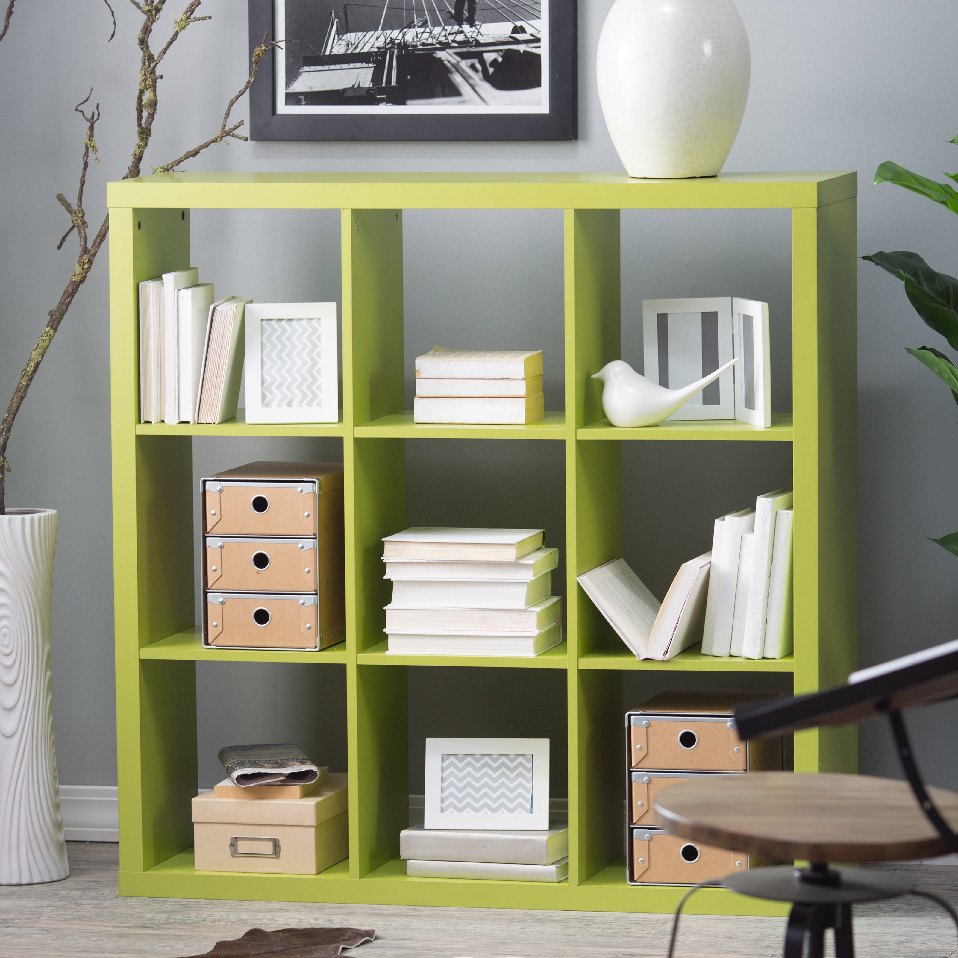 Hudson 9-Cube Bookcase - Green