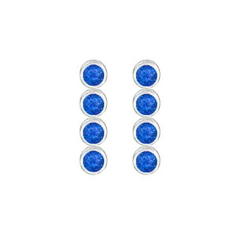 Created Blue Sapphire Drop Earrings in 14K White Gold Bezel Set Ten Carat Total Gem Weight
