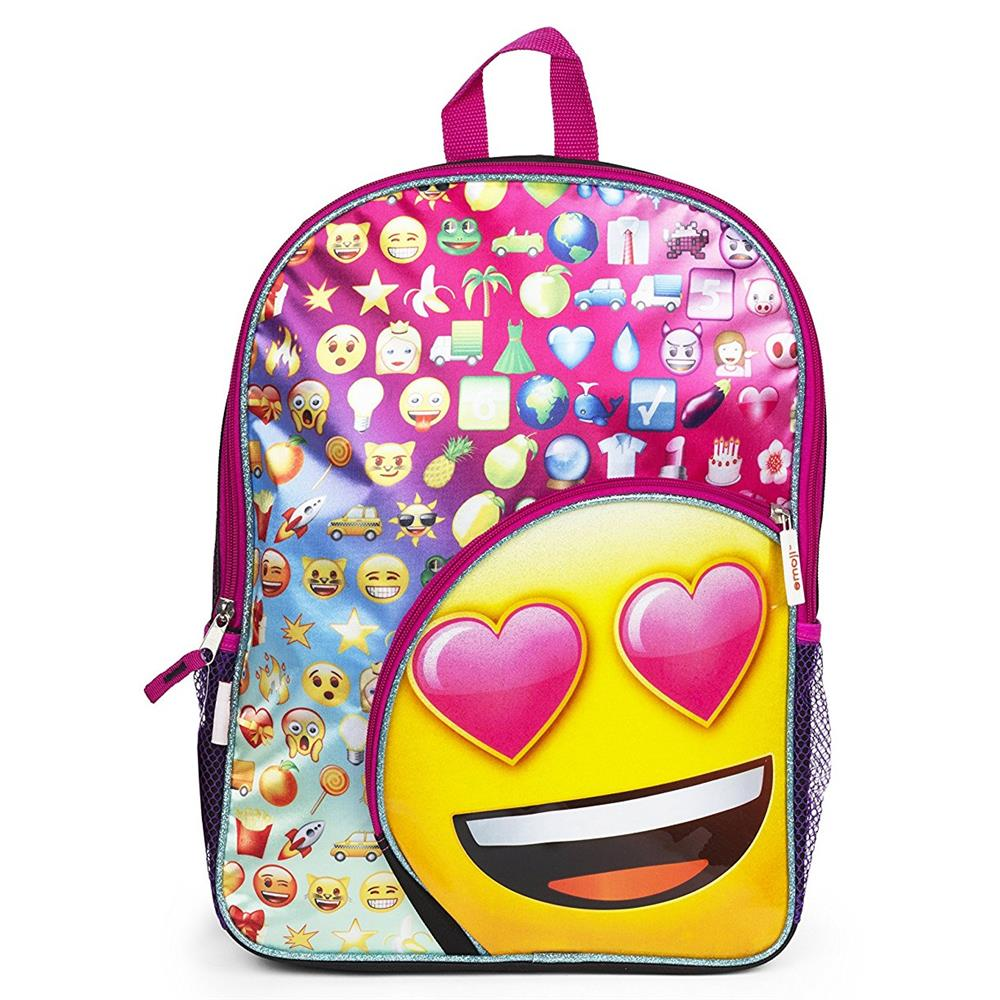 Emoji All Over Emoji Print Backpack (Pink One Size)