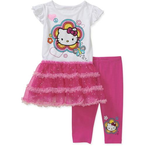 Hello Kitty Baby Girls' 2-Piece Tulle Ruffle Tunic and Legging Set