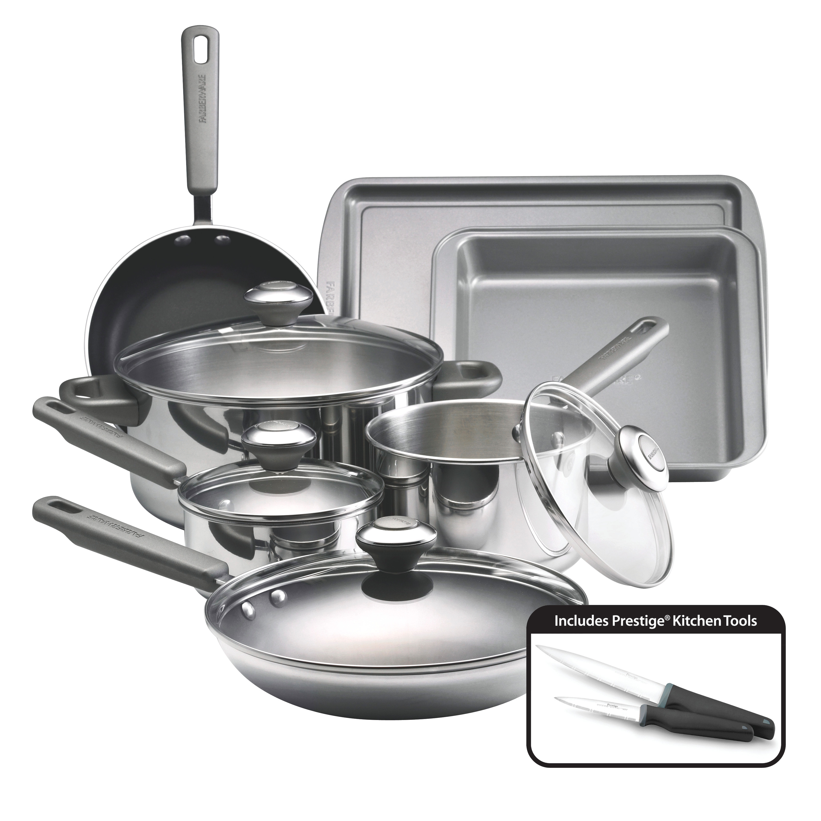 Farberware Complements Stainless Steel and Nonstick 13-Piece Cookware Set, Silver