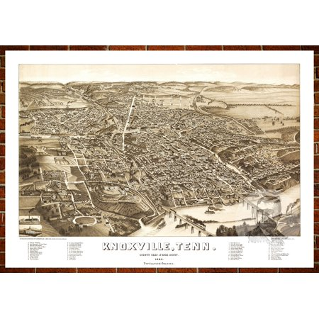 Ted's Vintage Art Map of Knoxville, TN 1886; Old Tennessee Decor 18