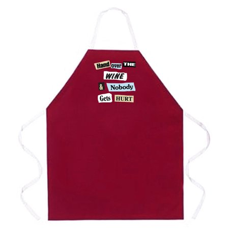 Attitude Apron Hand Over the Wine Apron, Burgundy, One Size Fits Most